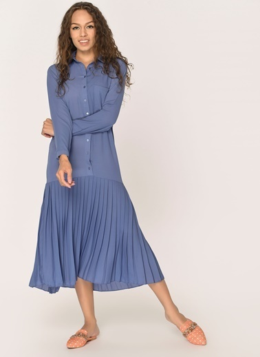 Loves You Eteği Piliseli Şifon Gömlek Elbise Mavi